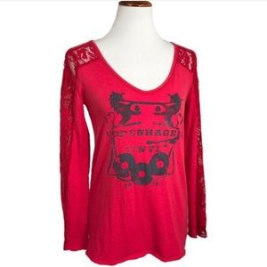 Free People Lace Graphic Long Sleeve Red Tee